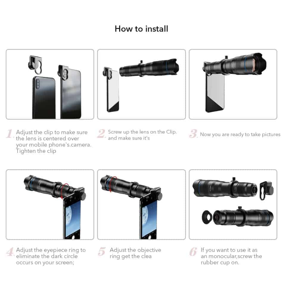 APEXEL optic phone mobile camera lens 36x telephoto how to install