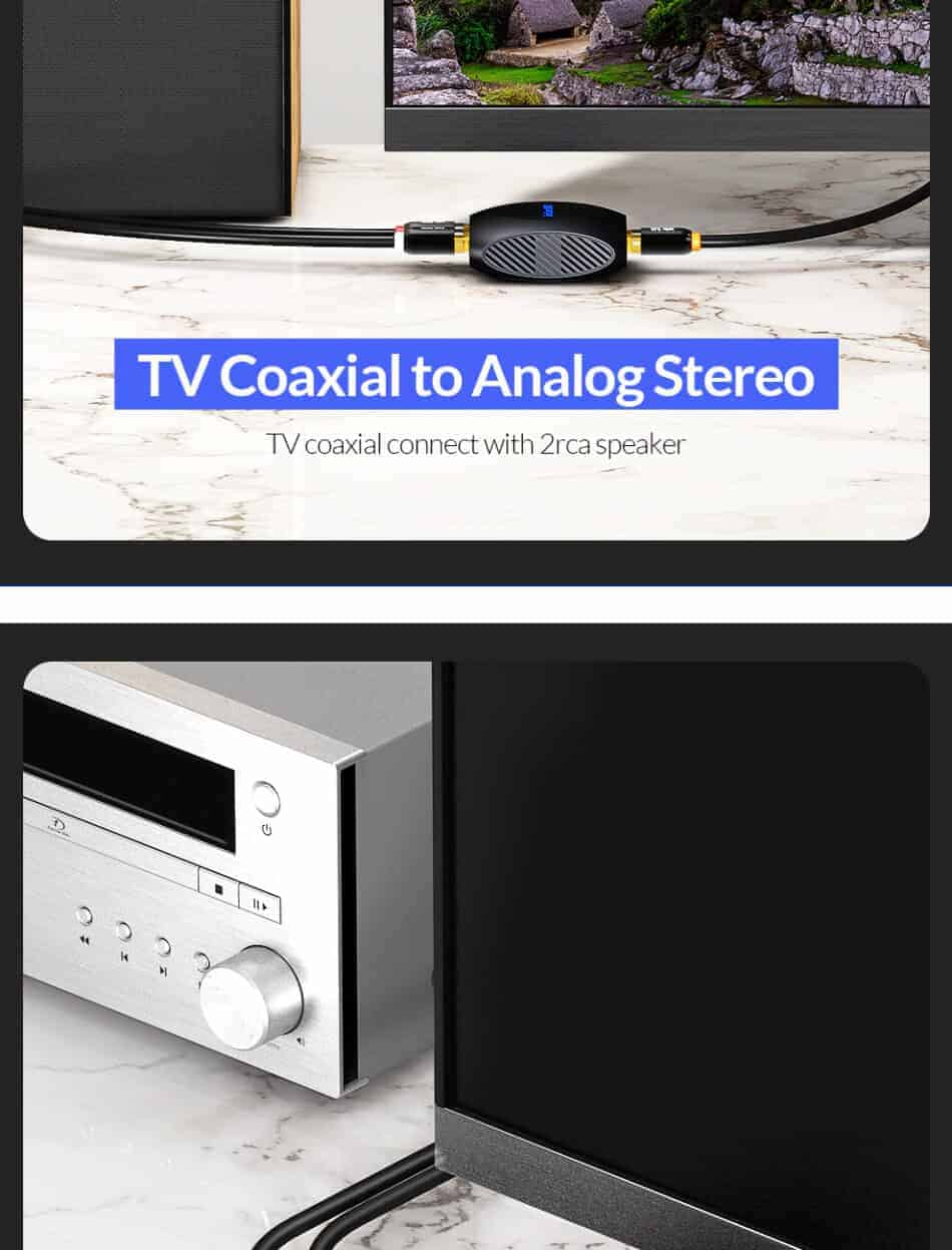Unnlink New Digital to Analog Audio Converter TV Coaxial to analog stereo