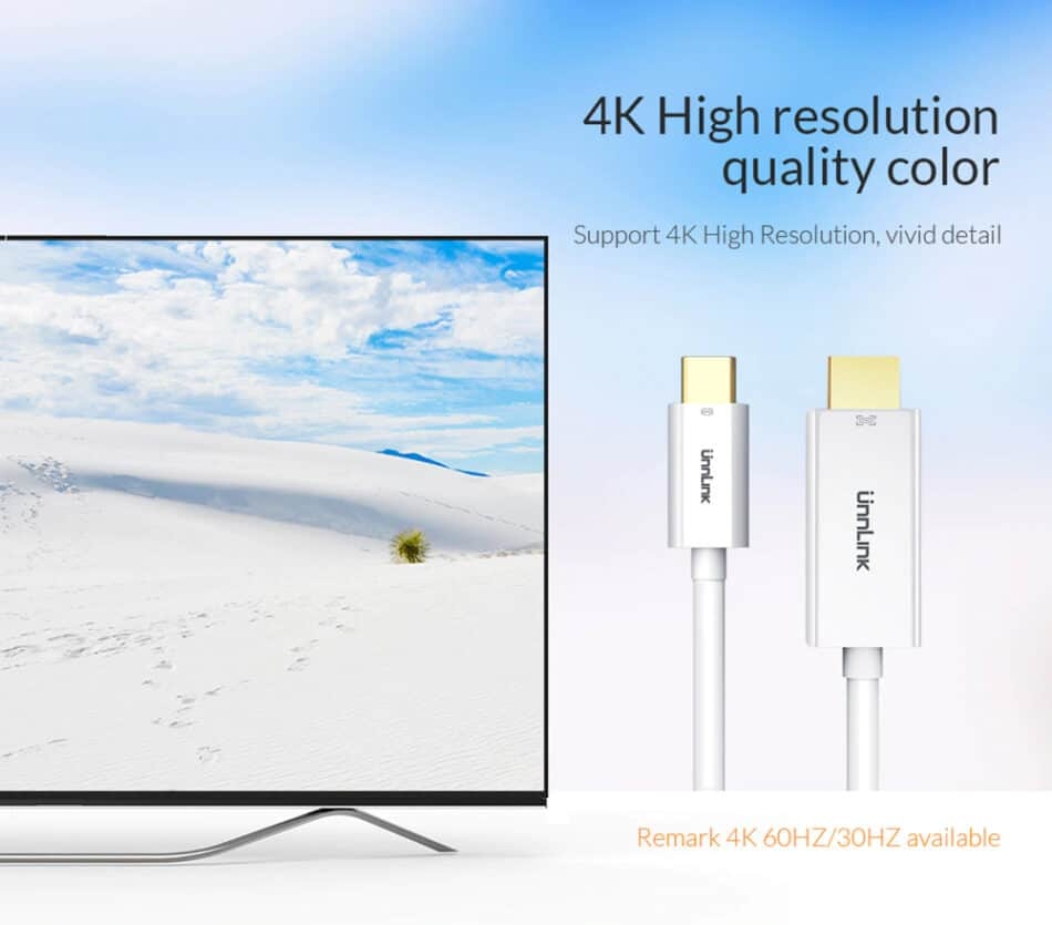 Unnlink USB C to HDMI Cable 4K High resolution quality color