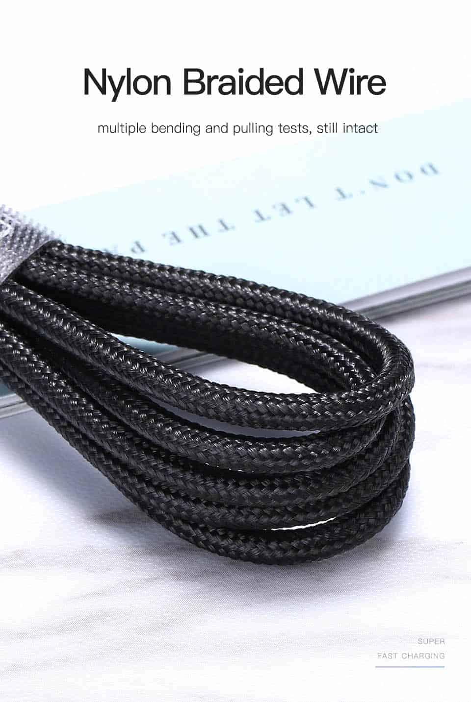 KUULAA Magnetic USB Cable USB C Micro USB lightning Nylon Braided Wire
