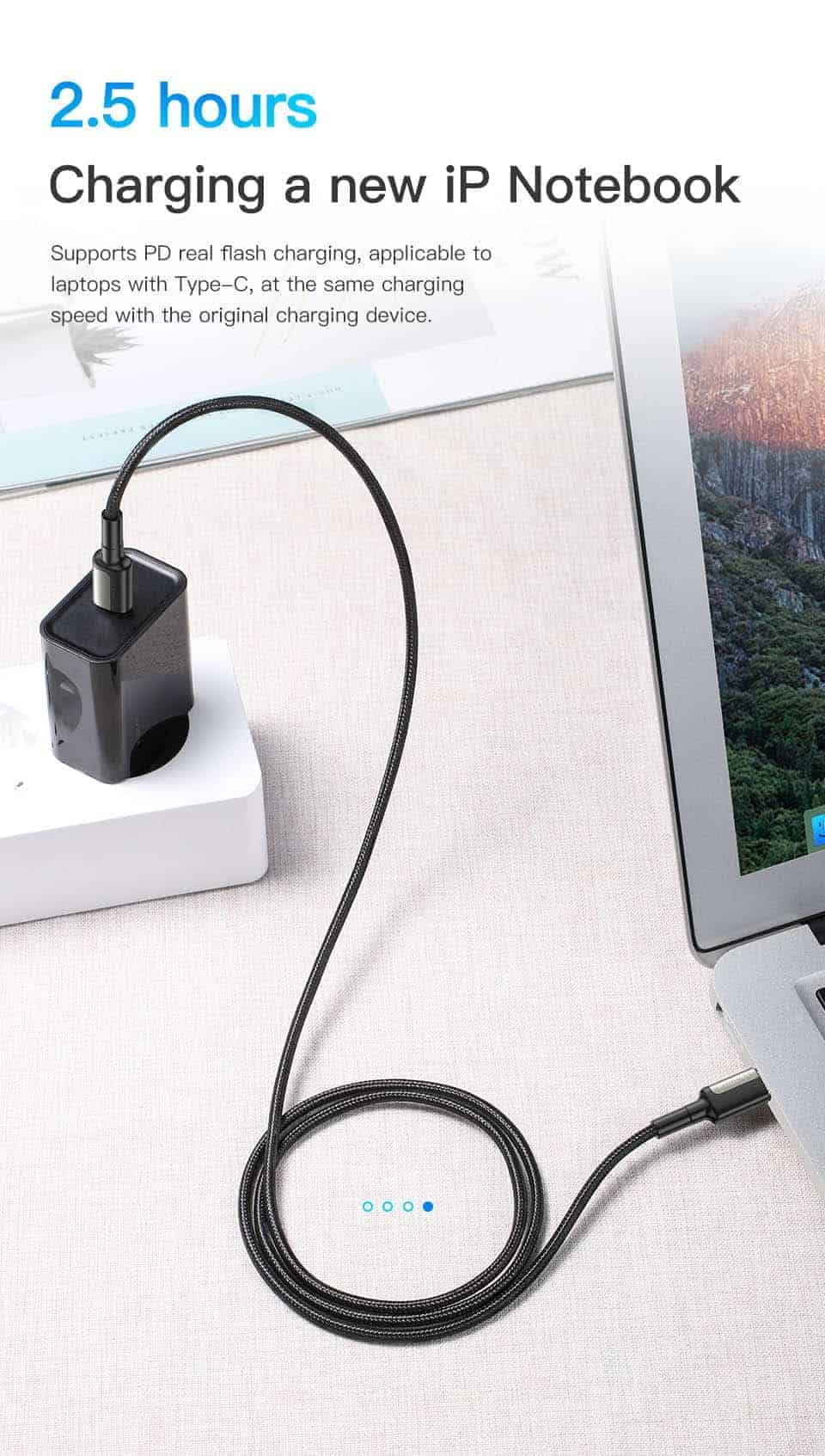 KUULAA USB Type C to USB Type C Cable 2.5 Hours Charging a new iP notebook