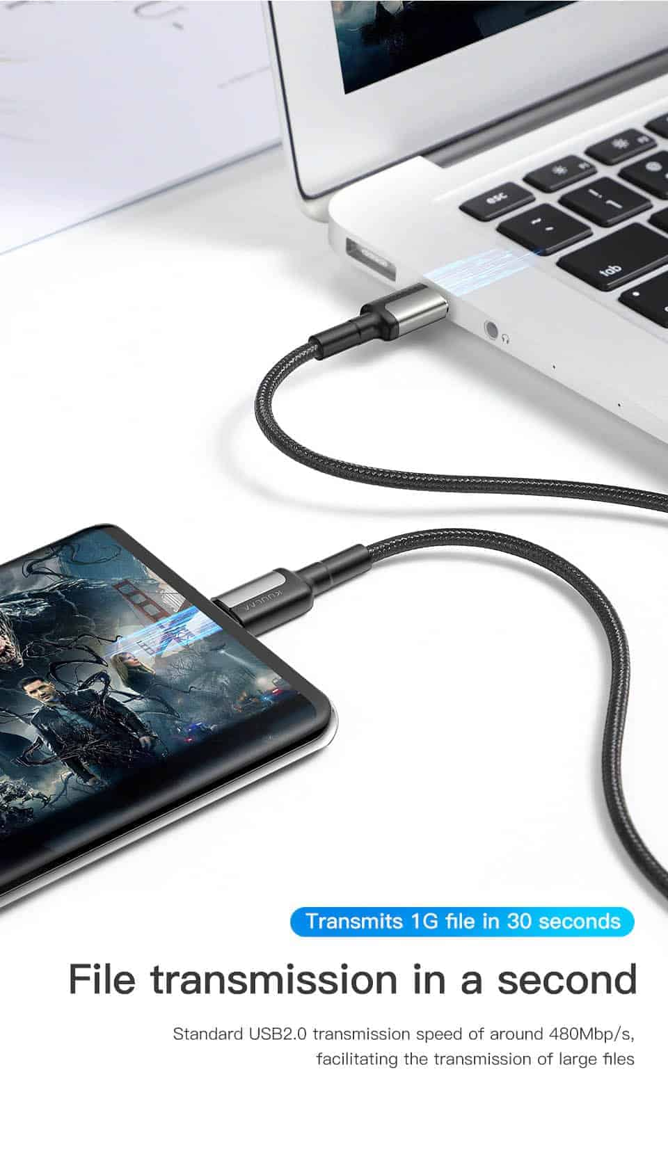 KUULAA USB Type C to USB Type C Cable File transmission in a seconed