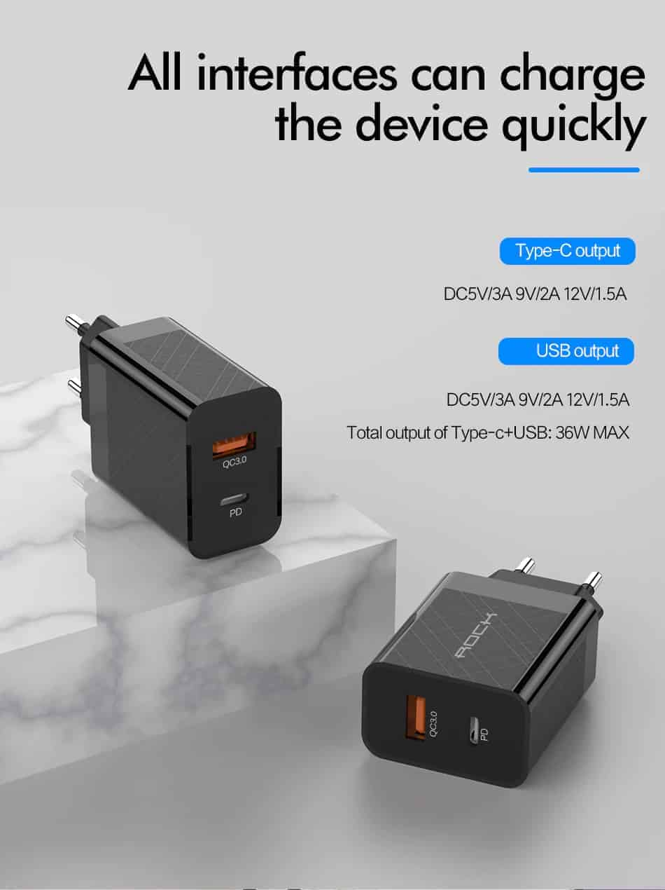 ROCK Quick Charge 4.0 36W QC PD 3.0 Phone Charger_Overview