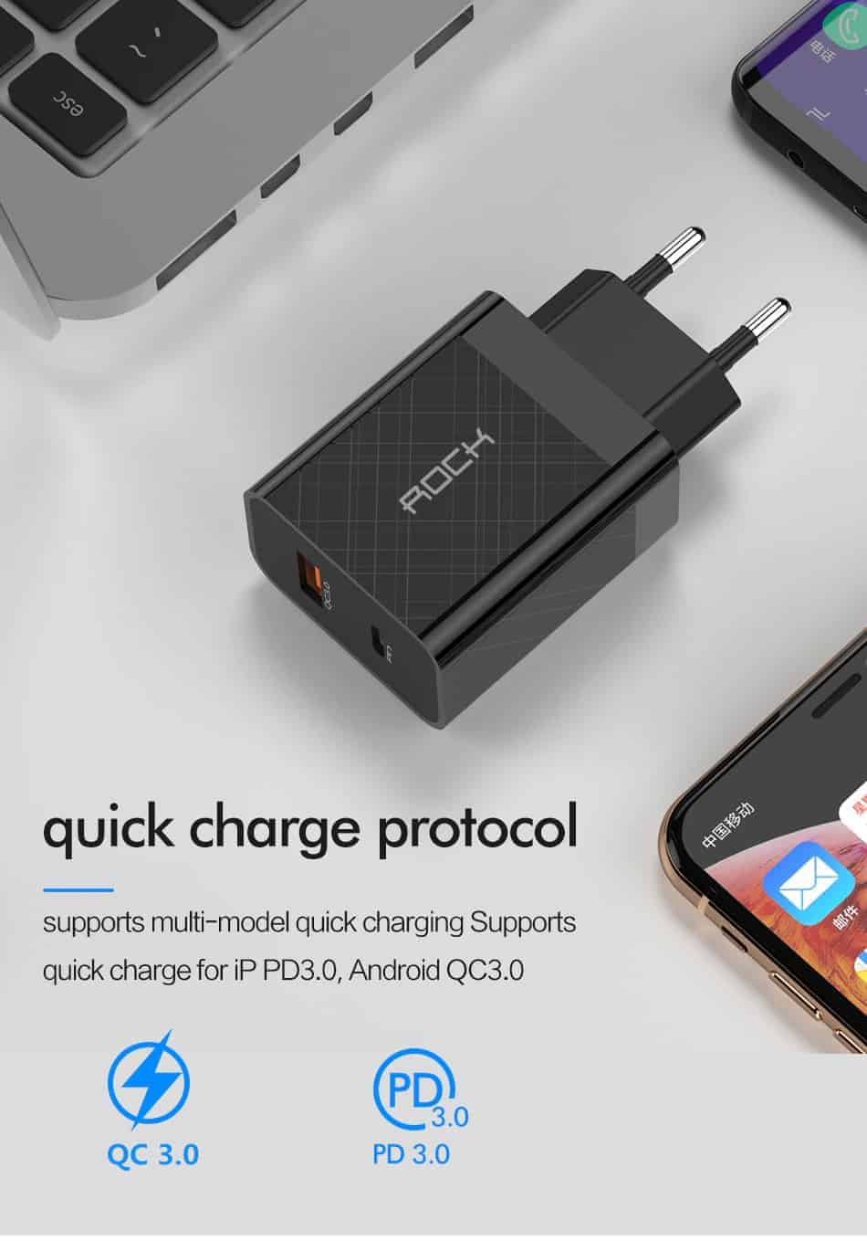 ROCK Quick Charge 4.0 36W QC PD 3.0 Phone Charger_quick charge protocol