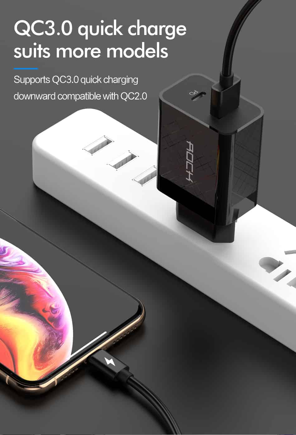 ROCK Quick Charge 4.0 36W QC PD 3.0 Phone Charger_quick charge suits more models