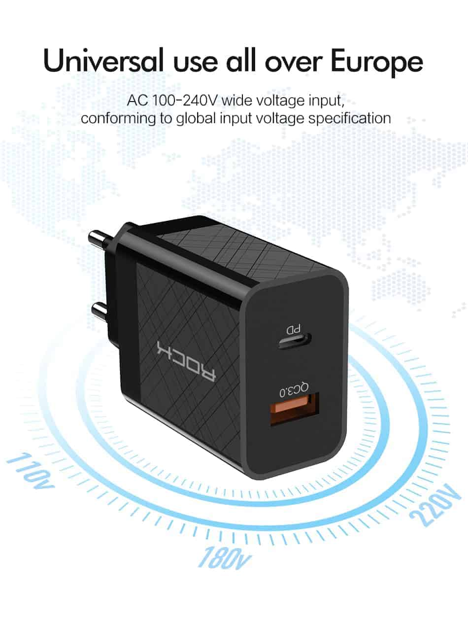 ROCK Quick Charge 4.0 36W QC PD 3.0 Phone Charger_universal use all over europe