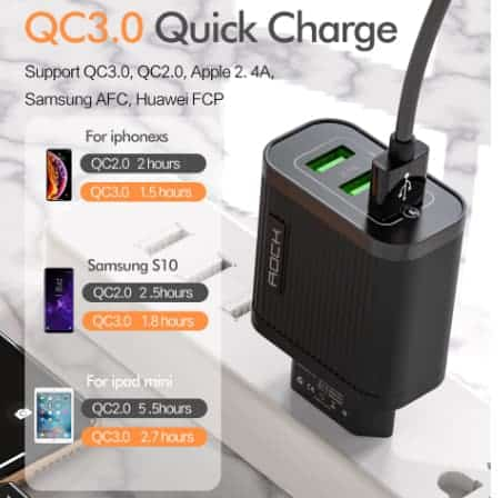 ROCK Quick Charger 3.0 3 USB Charger display_03