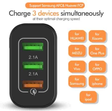 ROCK Quick Charger 3.0 3 USB Charger display_04