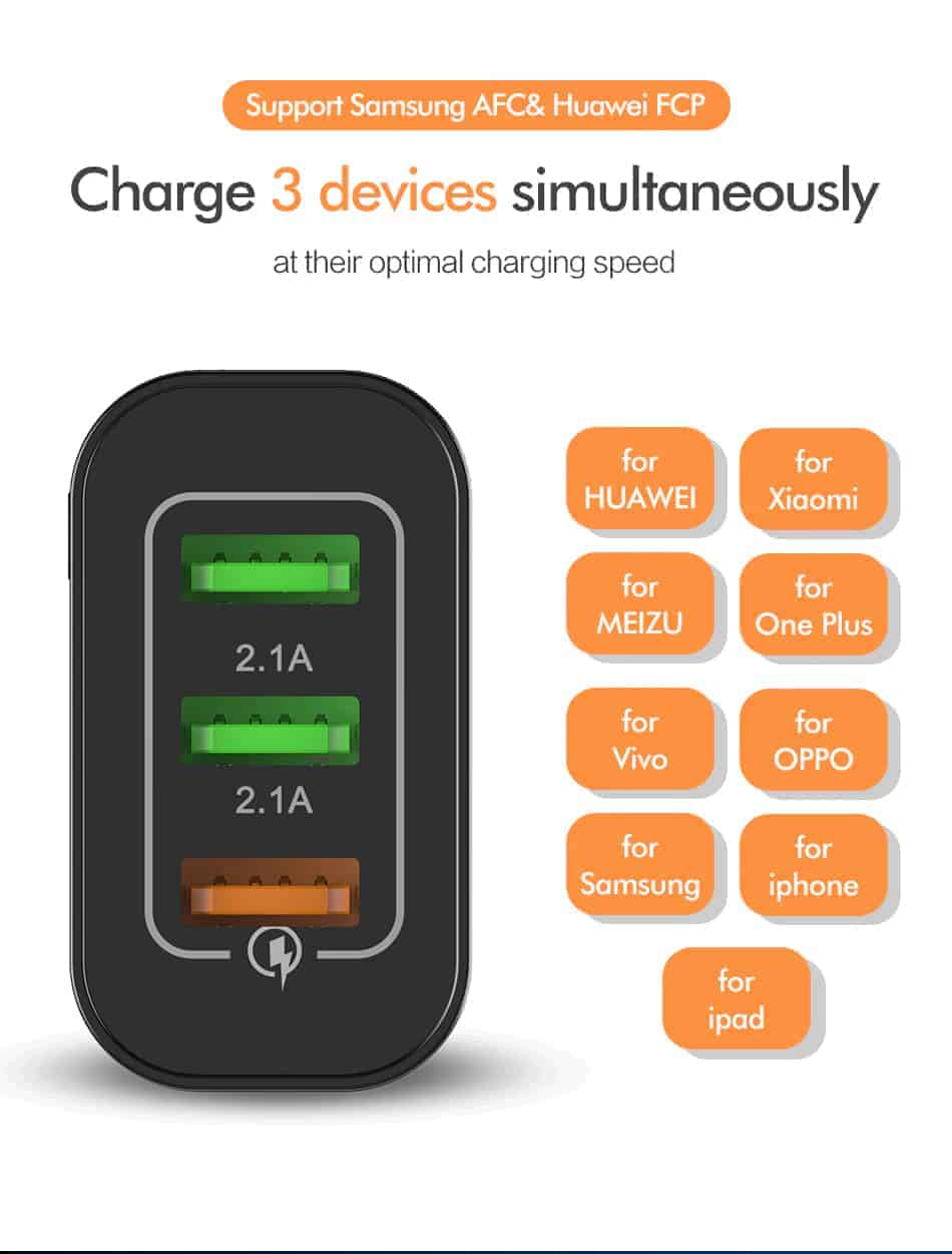 ROCK Quick Charger 3.0 3 USB Charger_Charge 3 devices simultaneously