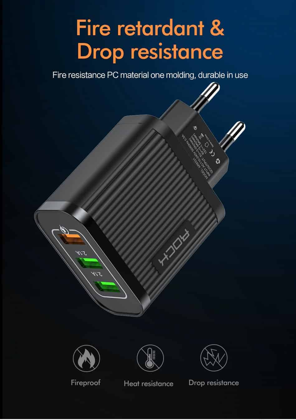 ROCK Quick Charger 3.0 3 USB Charger_Fire retardant Drop resistance