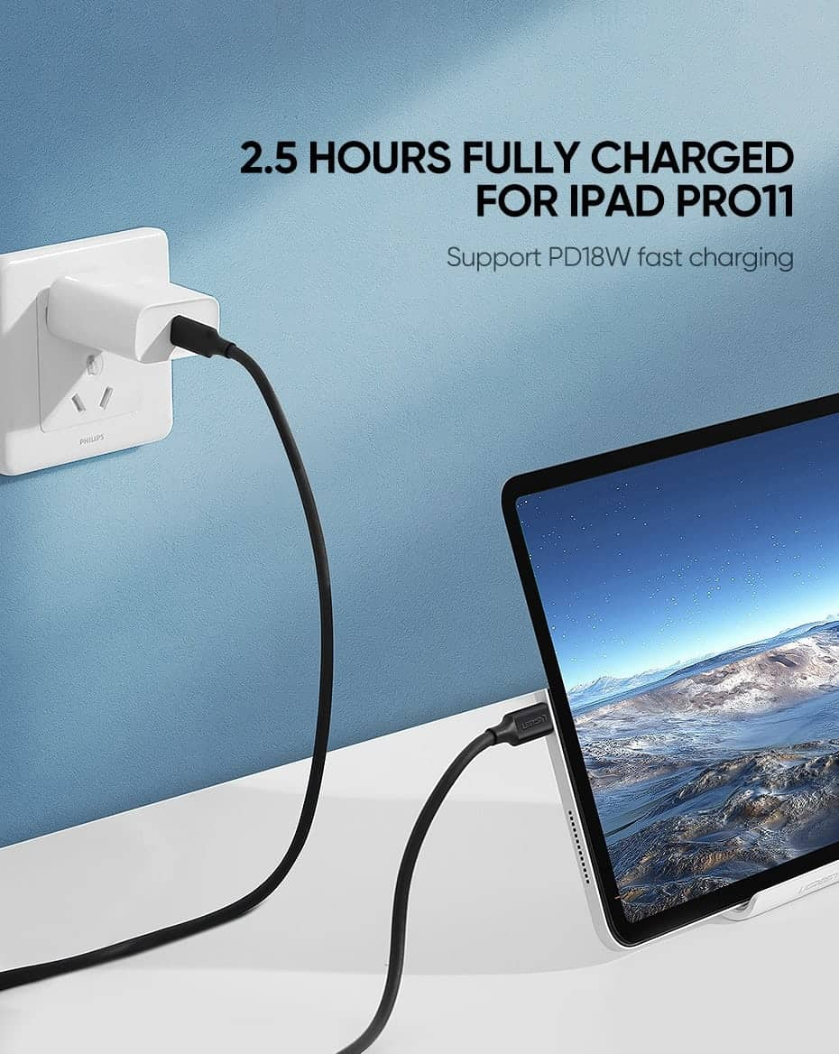 Ugreen 5A 100W USB C To USB C Cable 3.1 Gen 2_2.5 Hours Fully Charged For iPad Pro11 Suport PD18W