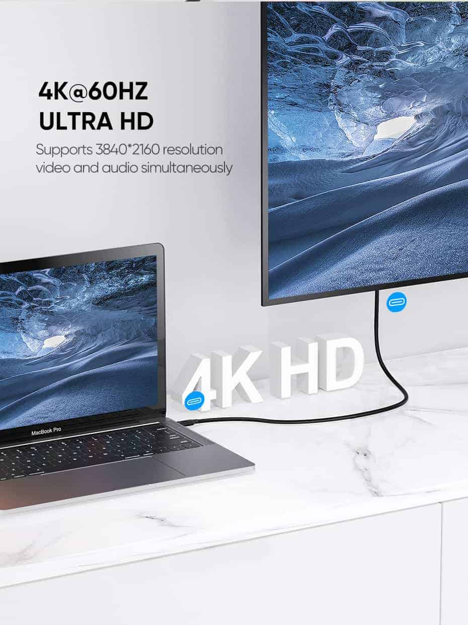Ugreen 5A 100W USB C To USB C Cable 3.1 Gen 2_4K@60HZ ULTRA HD Video and audio simultaneously
