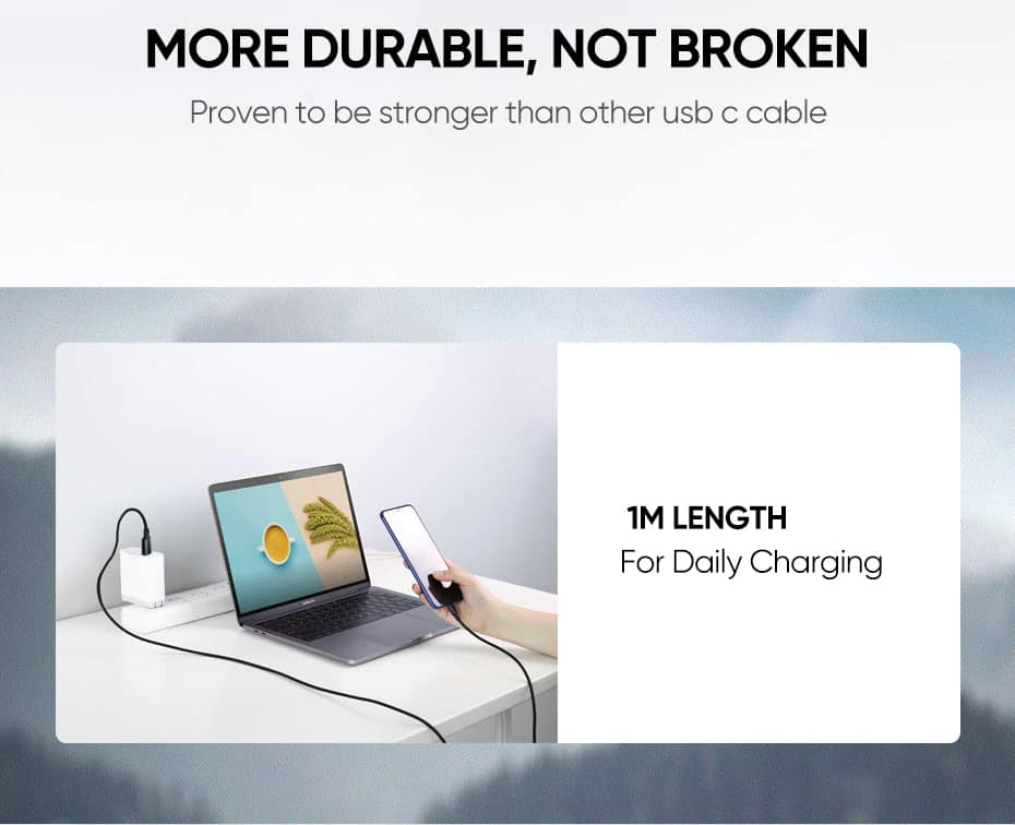 Ugreen 5A 100W USB C To USB C Cable 3.1 Gen 2_More durable not broken proven to bbe stronger than other Usb C cable