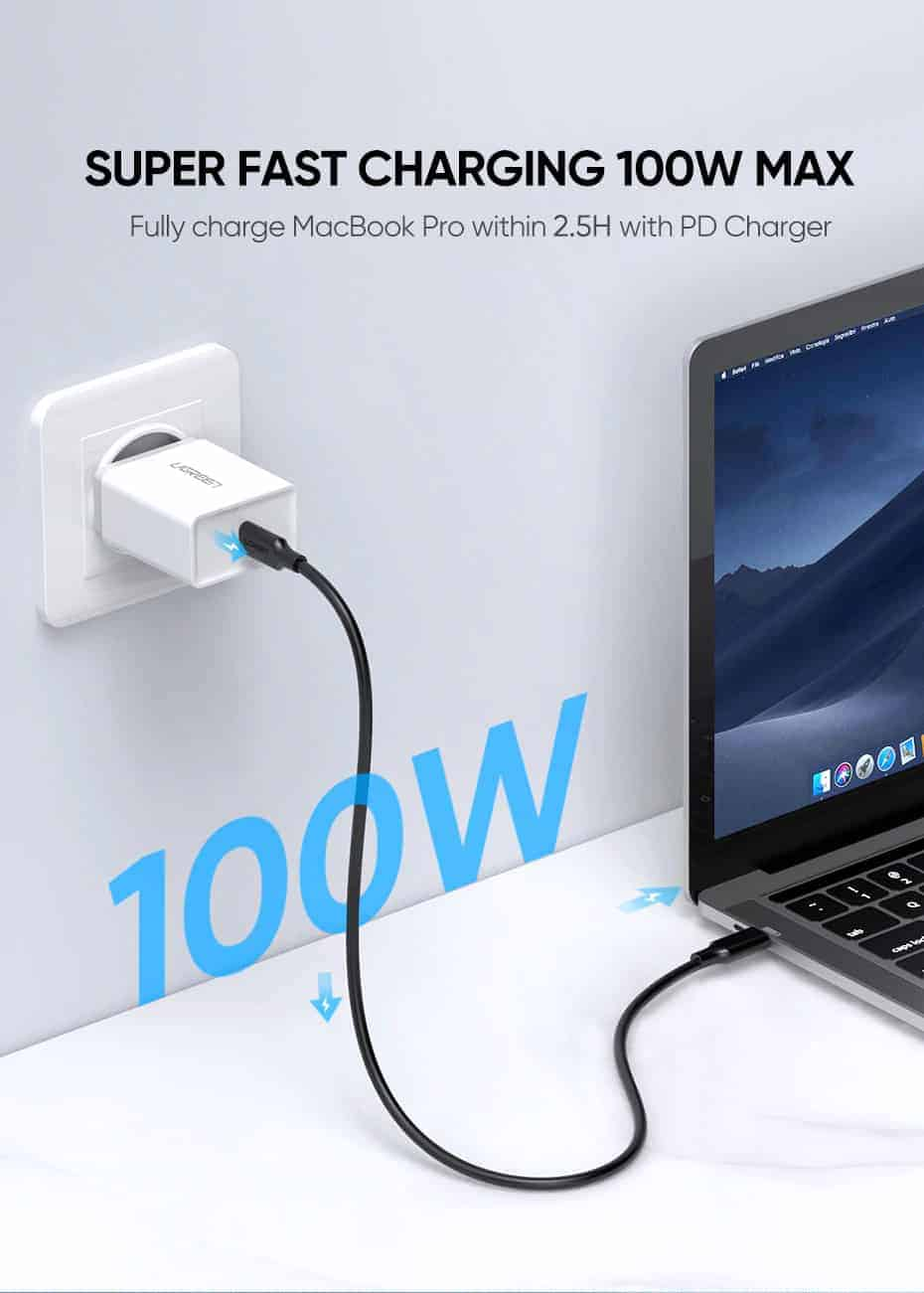 Ugreen 5A 100W USB C To USB C Cable 3.1 Gen 2_Super Fast Charging 100W Max
