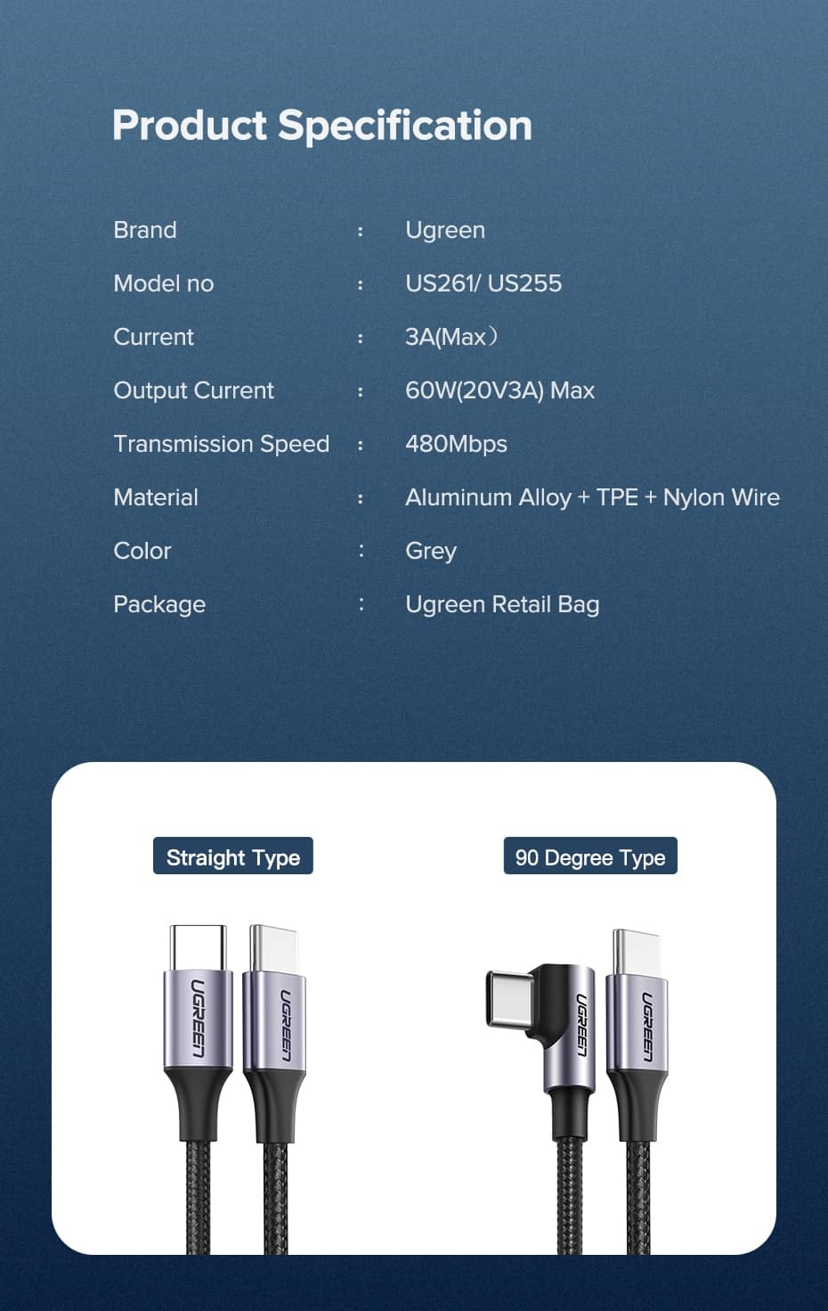 Ugreen USB Type C to USB C Cable 60W Product Specification