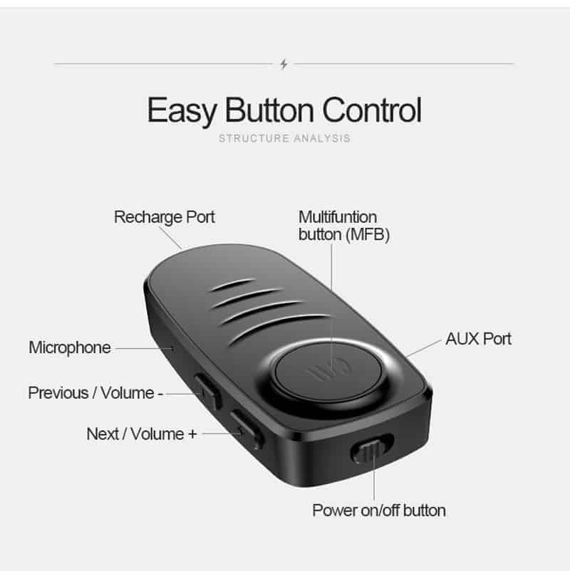 Bluetooth 5.0 Audio Receiver VIKEFON easy button control