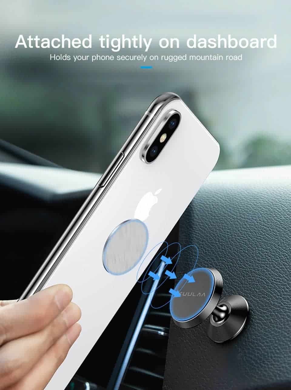 KUULAA Car Phone Holder Magnetic attached tightly on dashboard