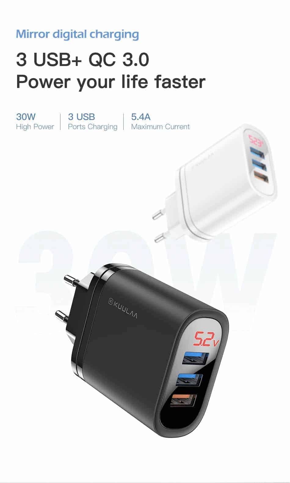 KUULAA Quick Charge 3.0 USB Charger 30W QC3.0 QC Fast Charging 3 USB