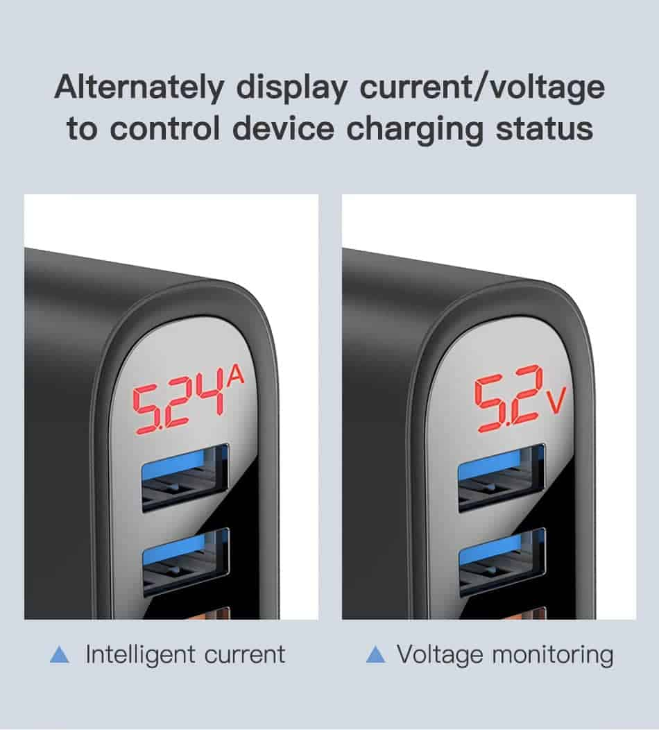 KUULAA Quick Charge 3.0 USB Charger 30W QC3.0 QC Fast Charging Alternately display current Voltage