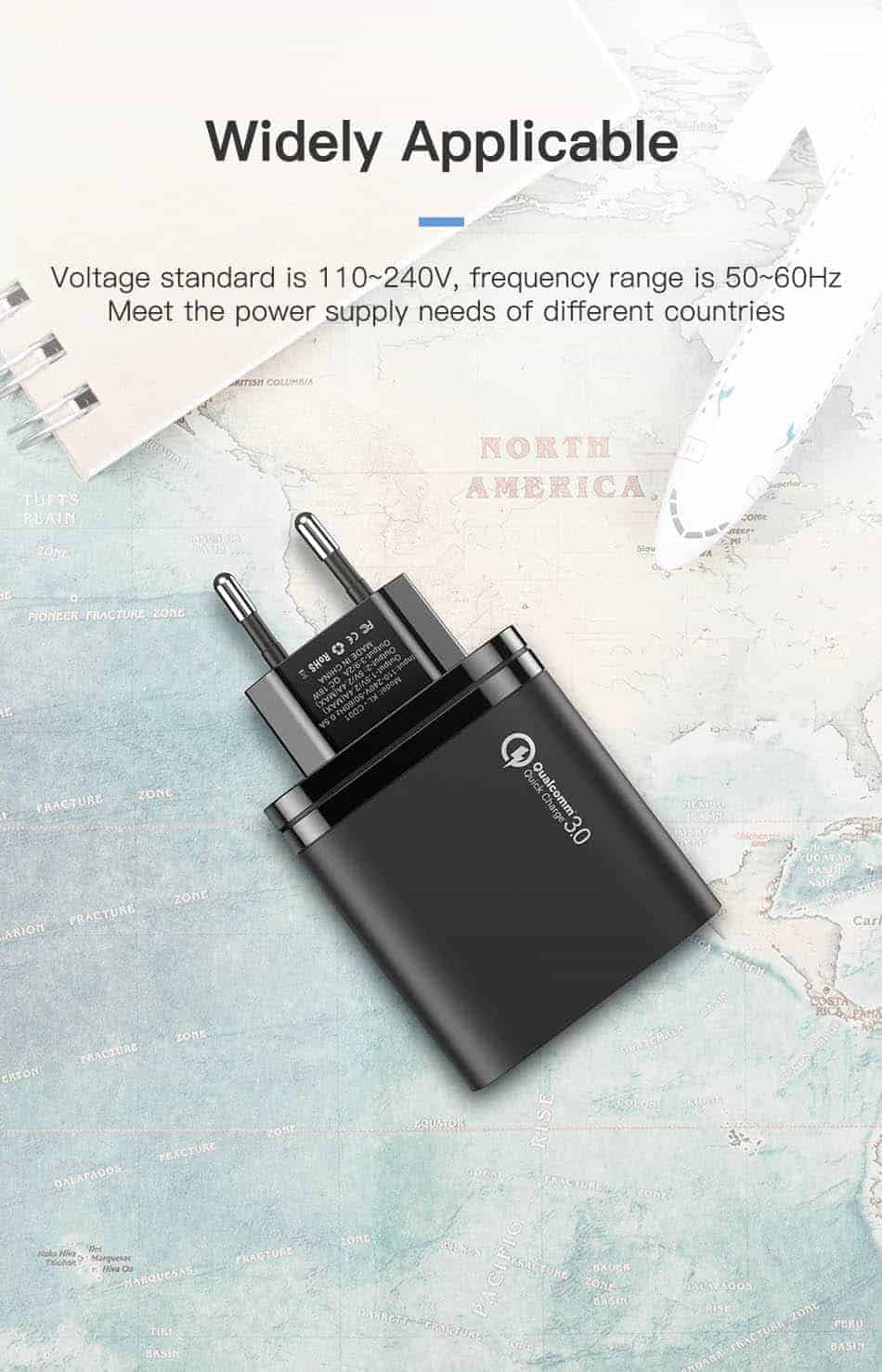 KUULAA Quick Charge 3.0 USB Charger 30W QC3.0 QC Fast Charging Widely Applicable