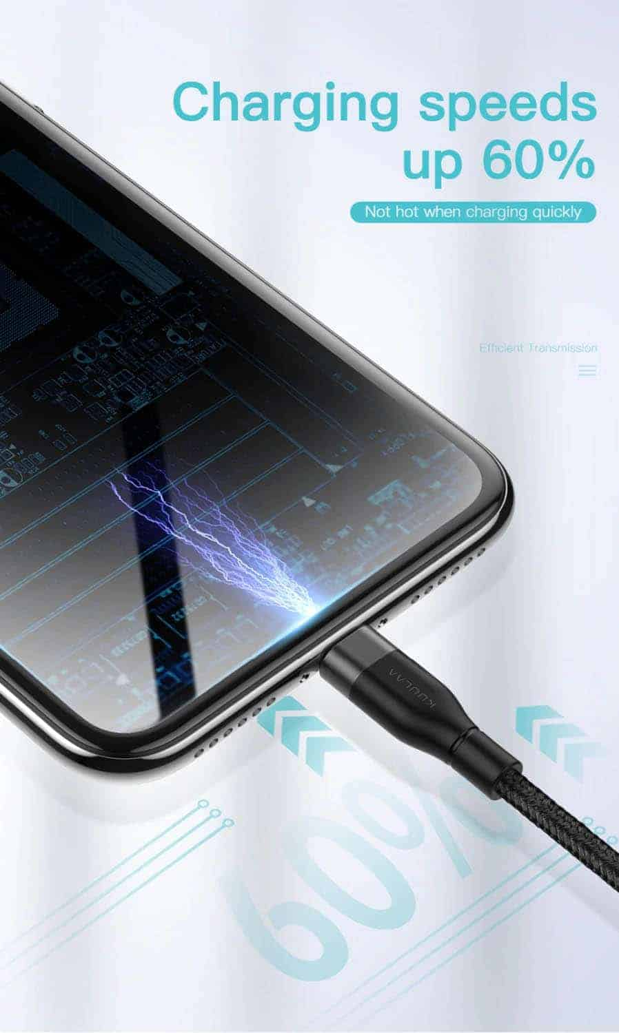 KUULAA USB Type C Cable 3A Charging Speeds Up 60%