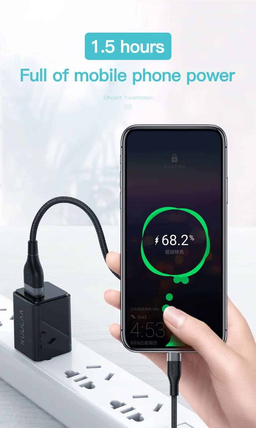 KUULAA USB Type C Cable 3A Full of mobile Phone Power