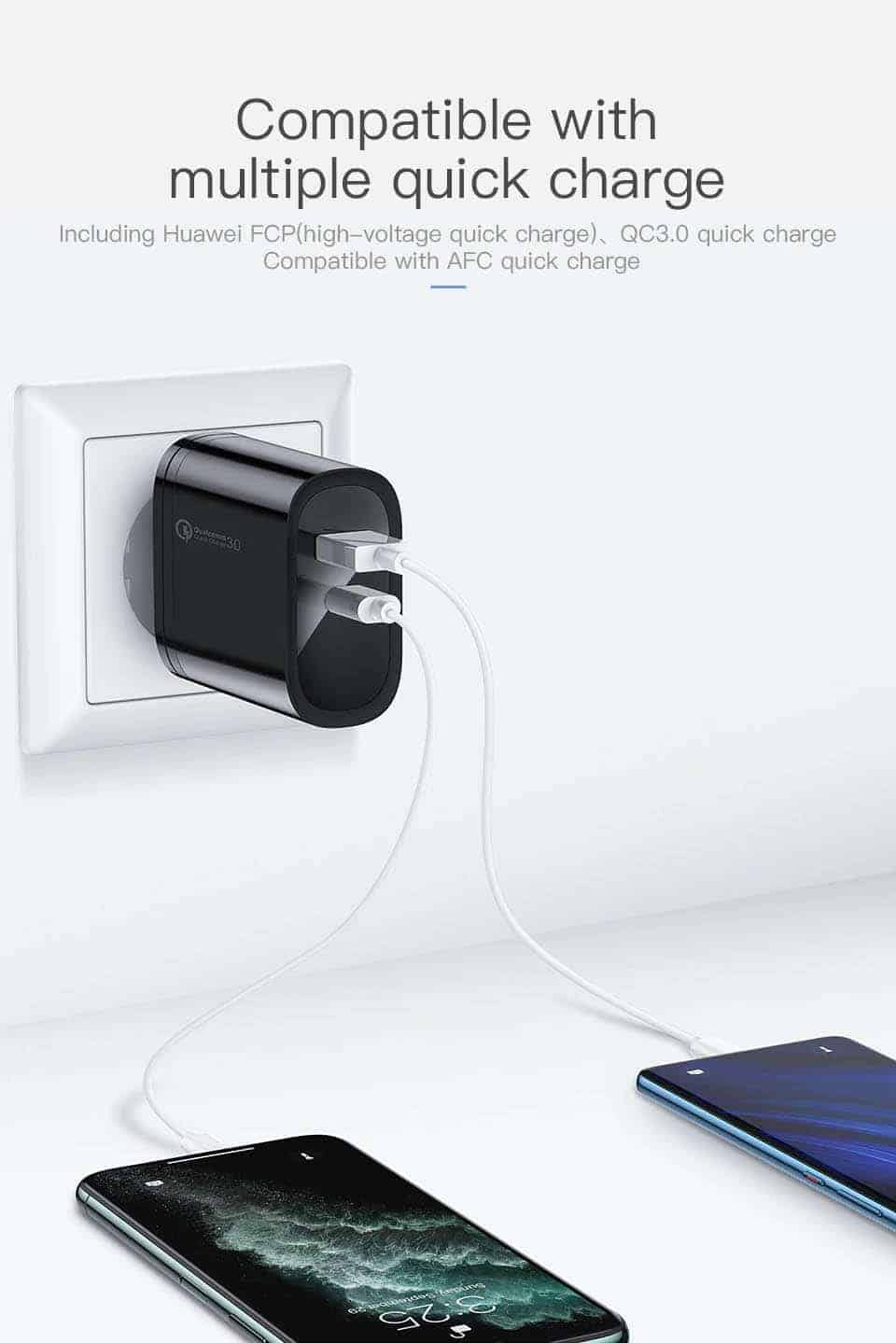 Kuulaa Quick Charger Type C and USB 36W Compatible with multple quick charge
