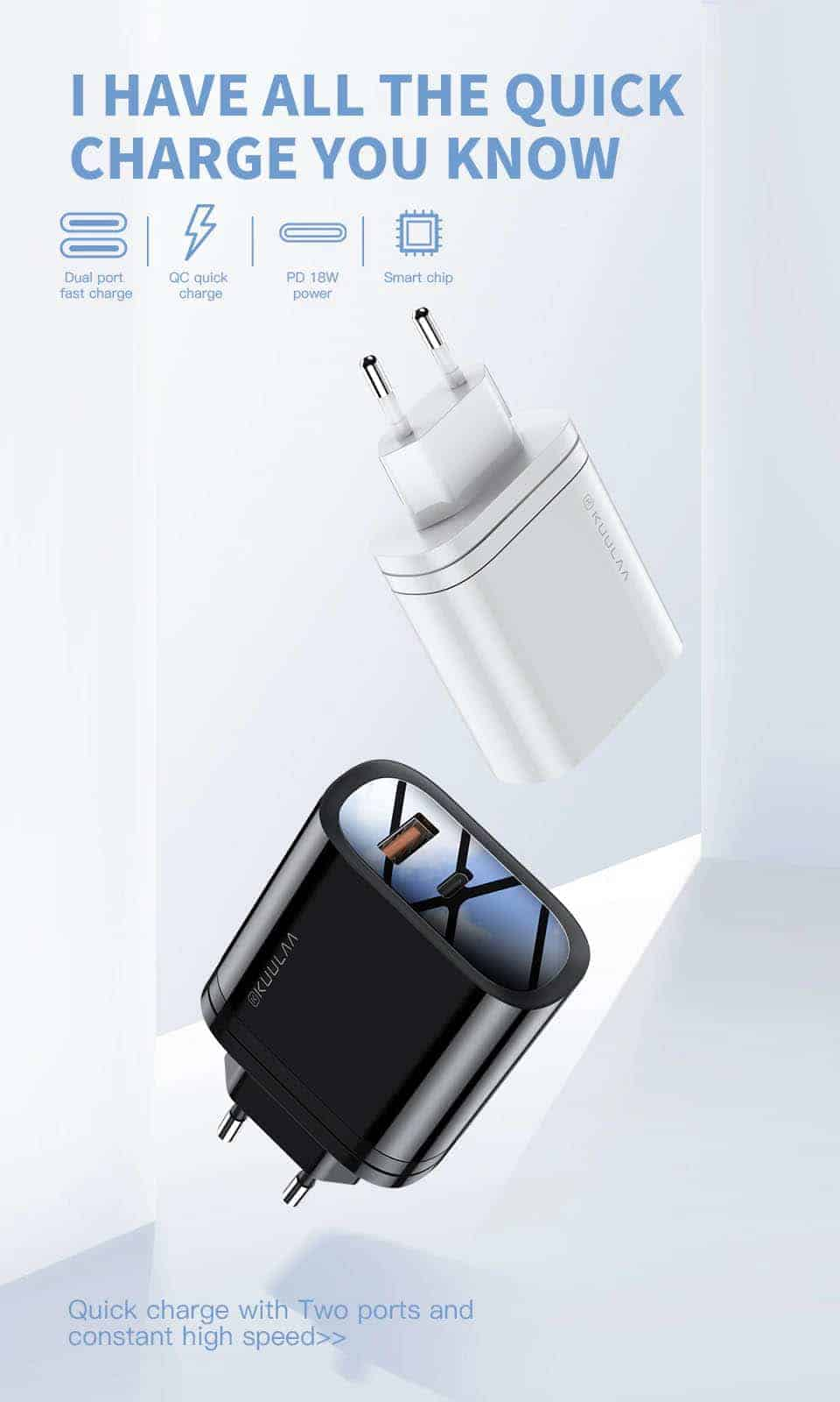 Kuulaa Quick Charger Type C and USB 36W Have all the quick charge you Know