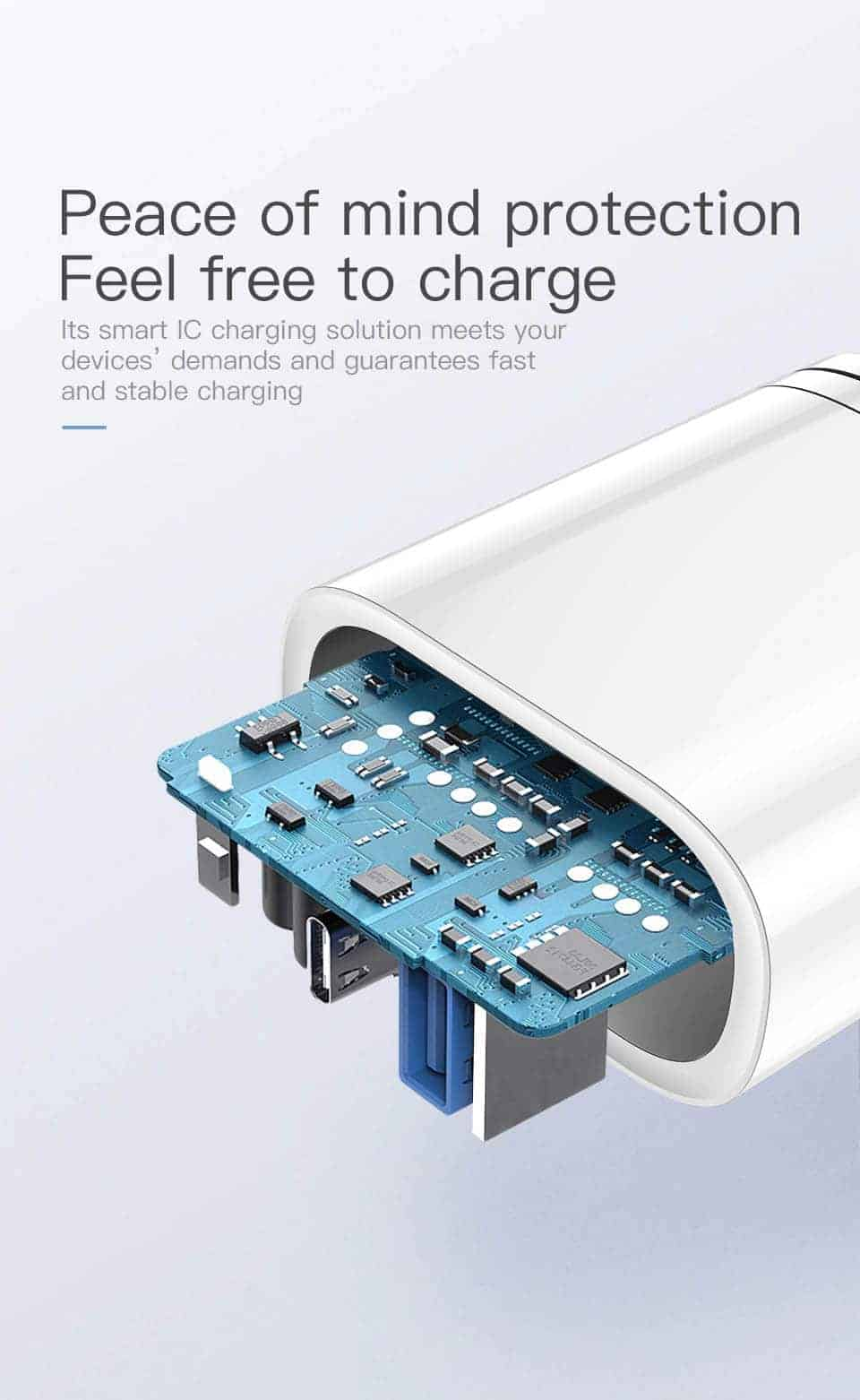 Kuulaa Quick Charger Type C and USB 36W Peace of mind protection Feel Free to charge