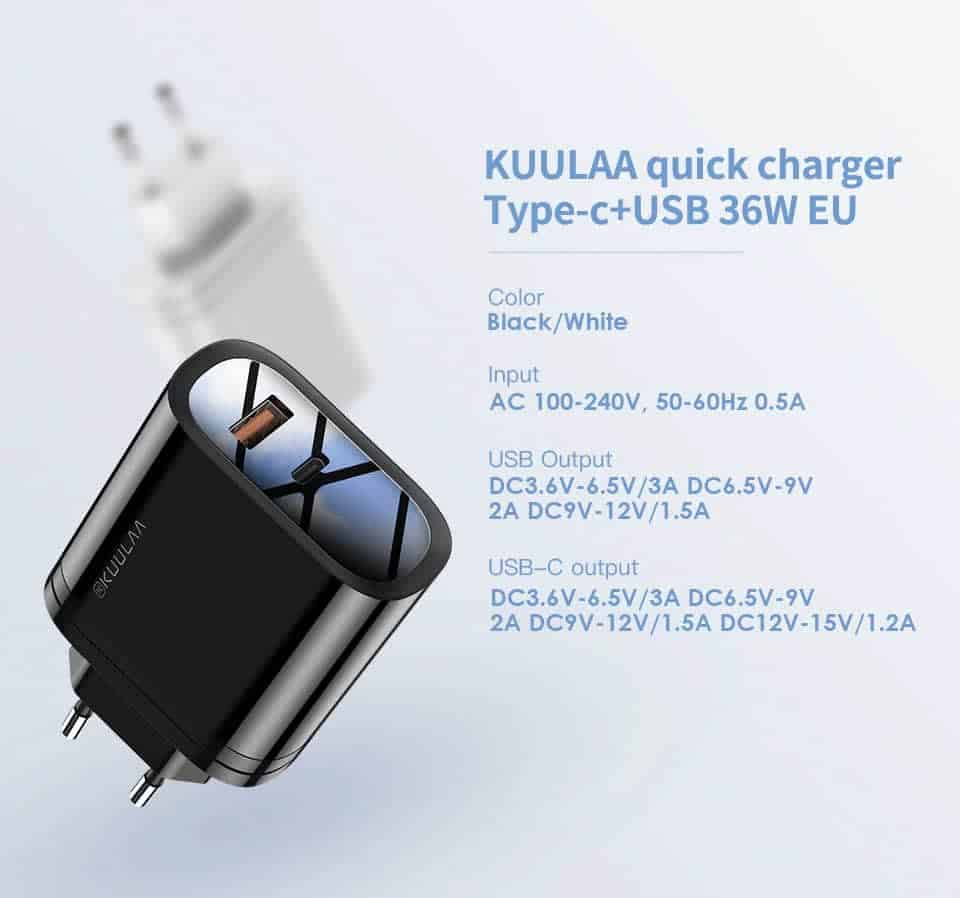 Kuulaa Quick Charger Type C and USB 36W Product parameters