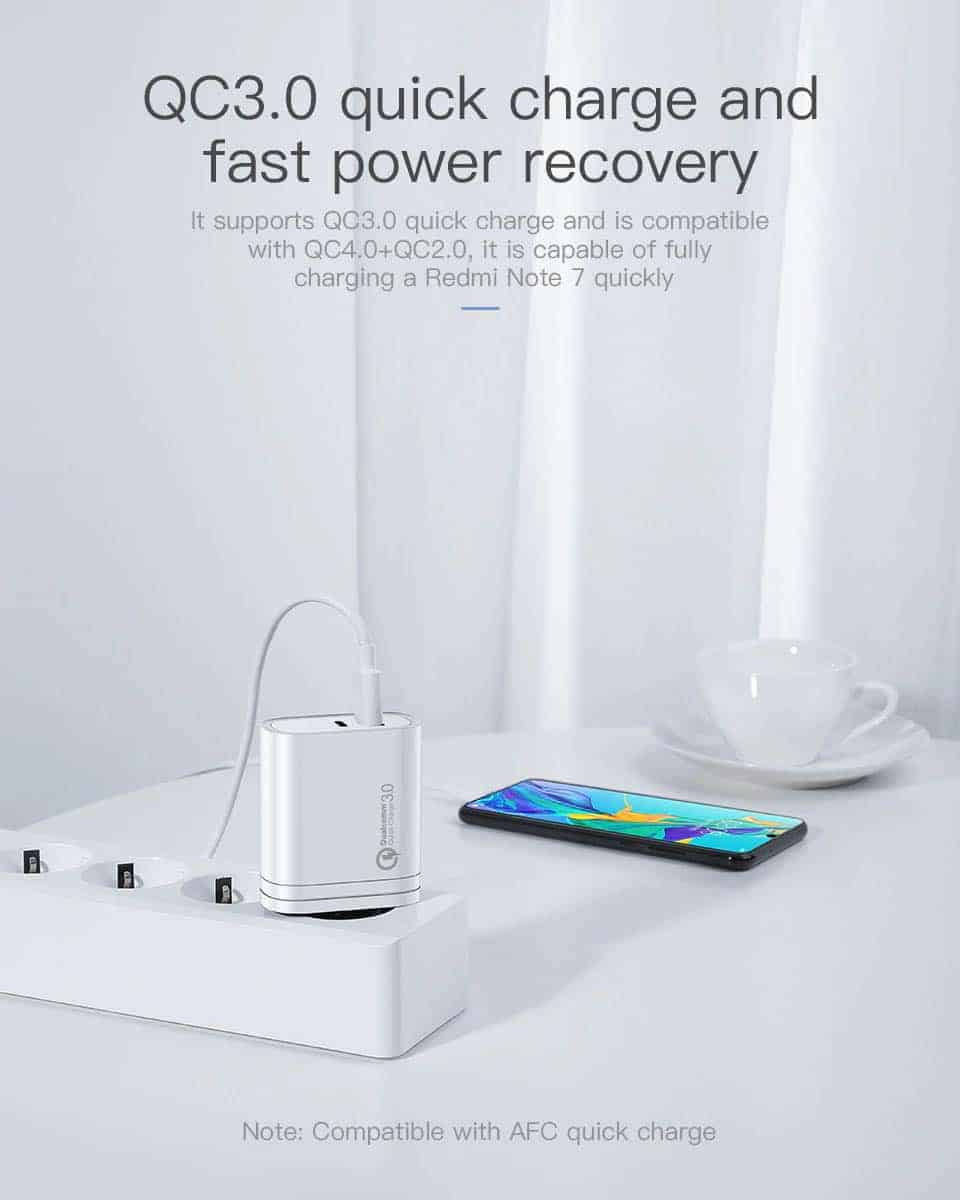 Kuulaa Quick Charger Type C and USB 36W QC 3 Quick charge and fast power recovery
