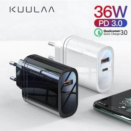 Kuulaa Quick Charger Type C and USB 36W display 01