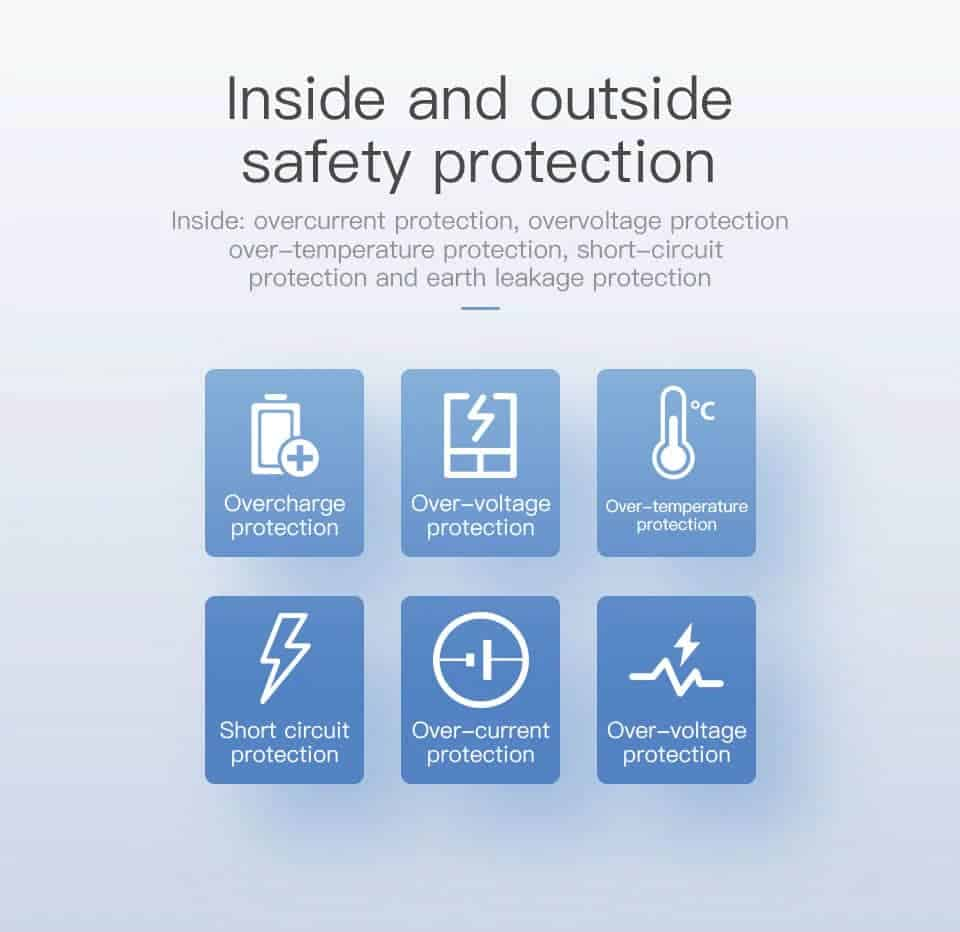 Kuulaa Quick Charger Type C and USB 36W insiide and outside safety protection