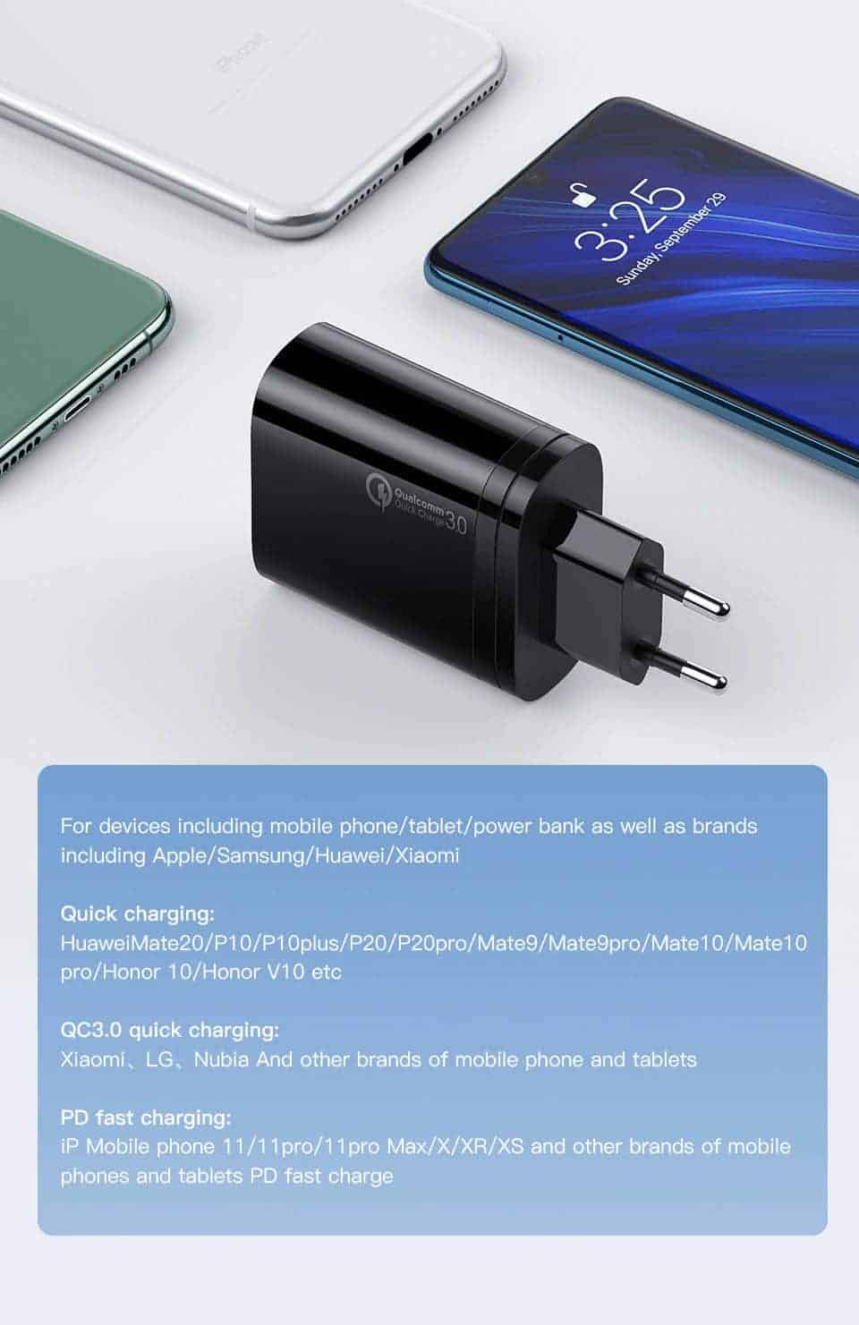 Kuulaa Quick Charger Type C and USB 36W support smartphone