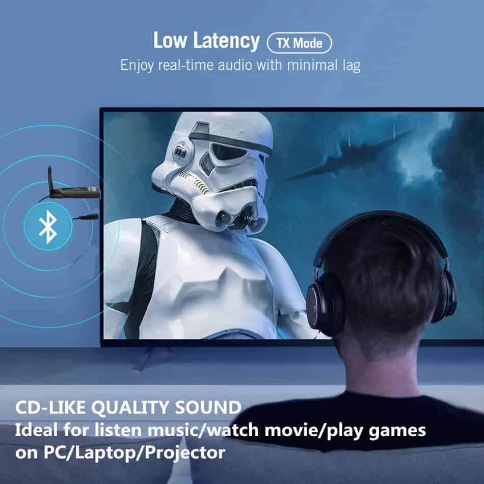bluetooth 5.0 audio transmitter aptX USB A2DP CSR Vikefon Low Latency