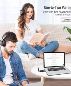 bluetooth 5.0 audio transmitter aptX USB A2DP CSR Vikefon One to Two Pairing