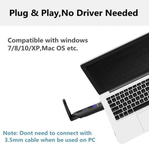 bluetooth 5.0 audio transmitter aptX USB A2DP CSR Vikefon Plug and Play No Driver needed
