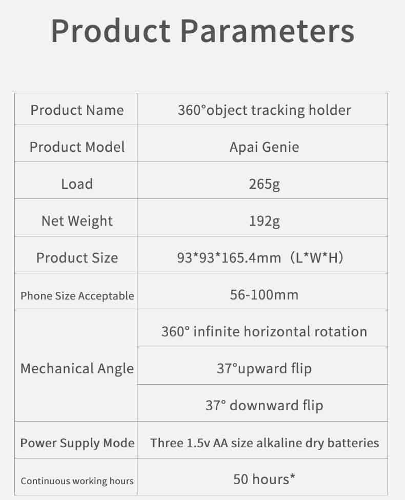 360 object tracking holder-parameter
