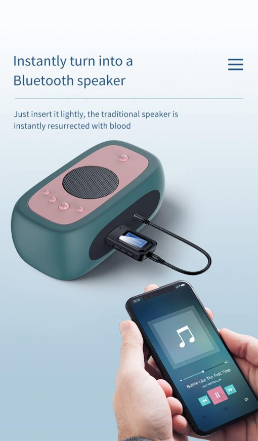 Bluetooth 5.0 Audio Receiver Transmitter with LCD Display 2IN1_instantly turn into a bluetooth speaker