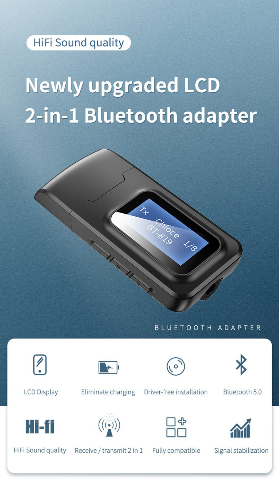 Bluetooth 5.0 Audio Receiver Transmitter with LCD Display 2IN1_newly upgraded