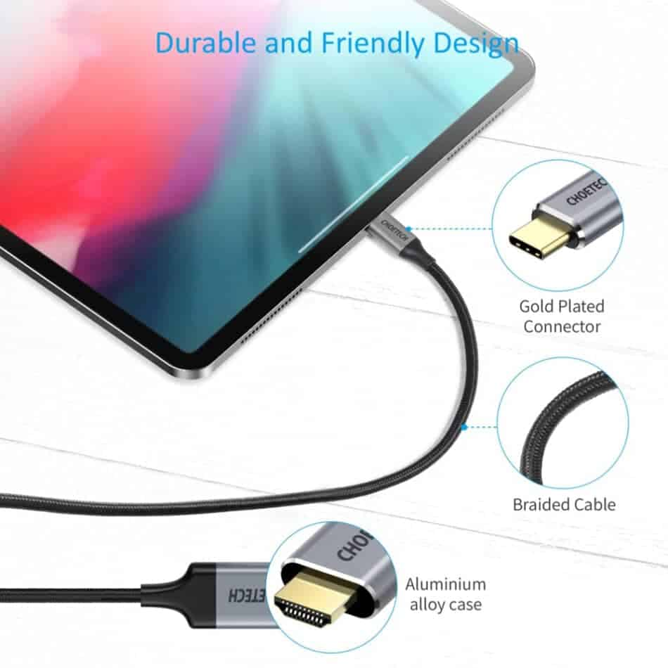 Choetech Type C to HDMI Cable Durable and friendly design