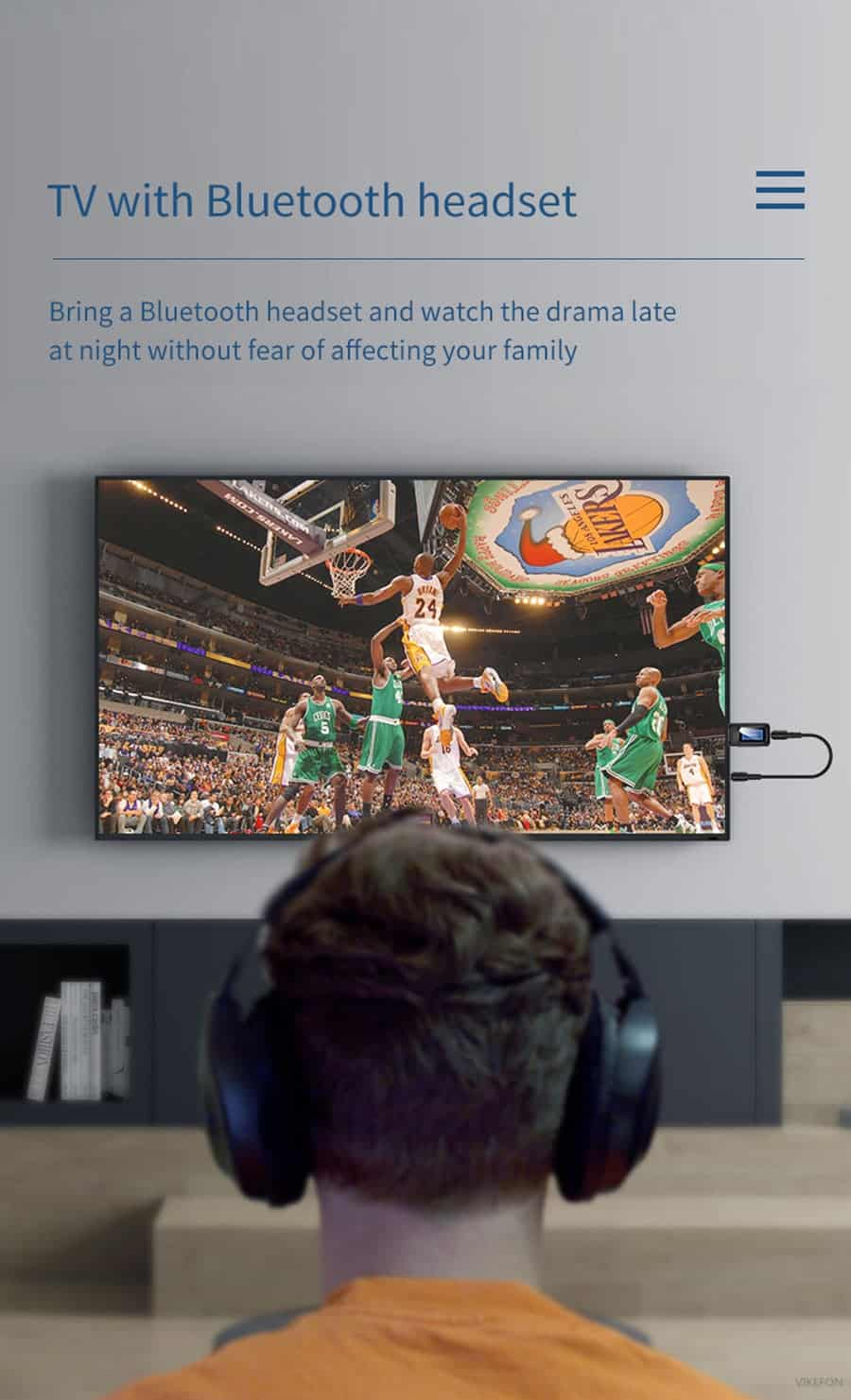 Bluetooth 5.0 Audio Receiver Transmitter with LCD Display 2IN1_TV with bluetooth headset