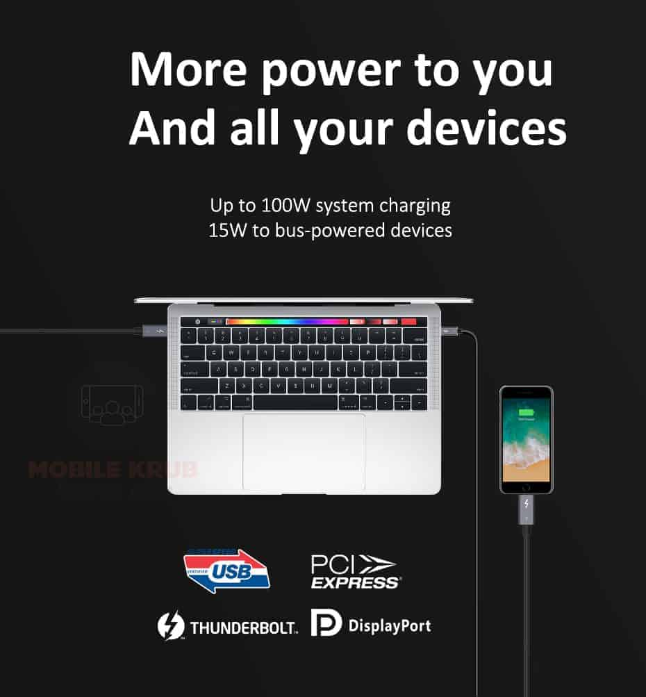 CABLETIME Thunderbolt 3 Cable USB-C to Type C More power to and all your devices