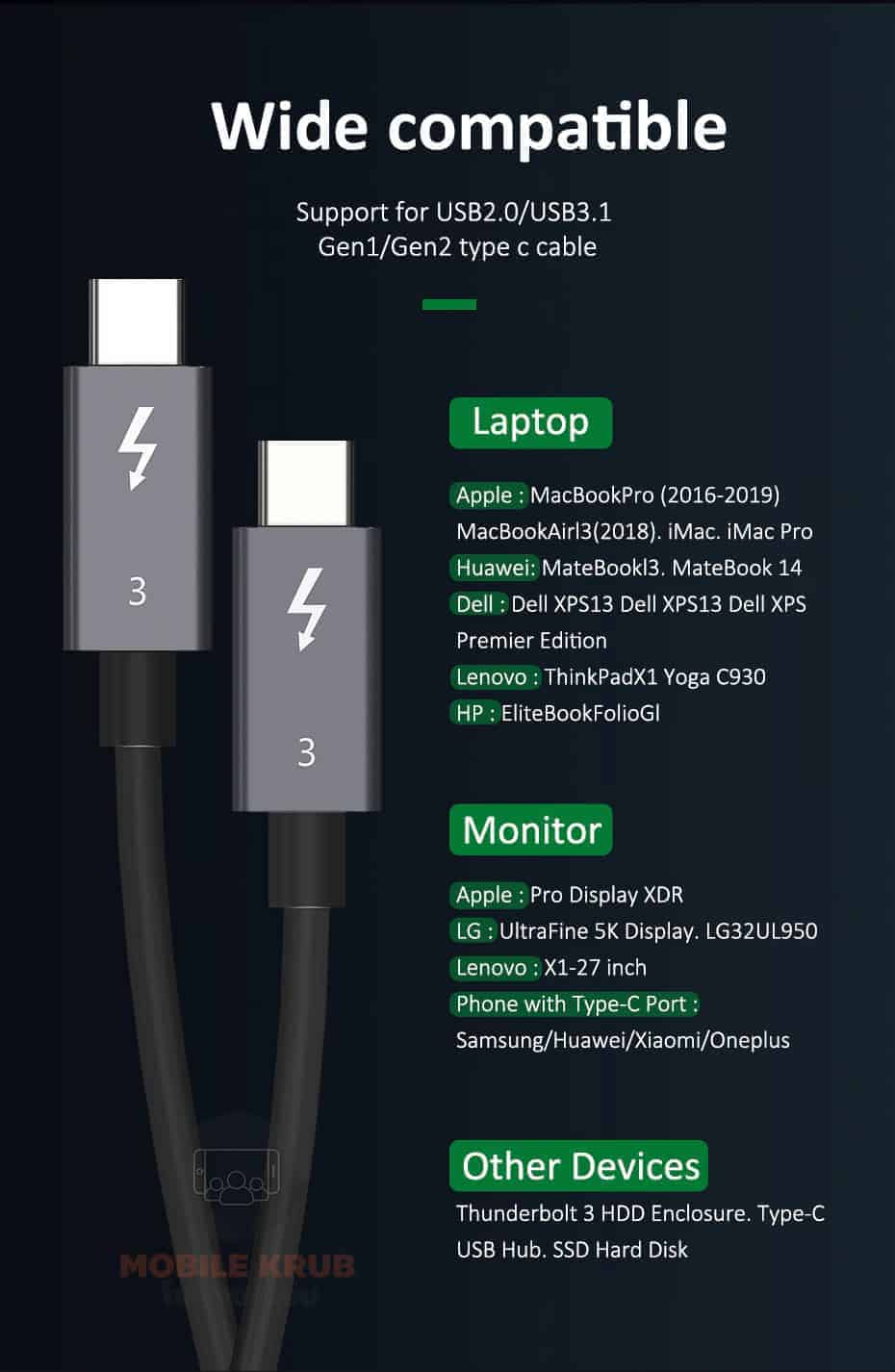 CABLETIME Thunderbolt 3 Cable USB-C to Type C wide Compatible