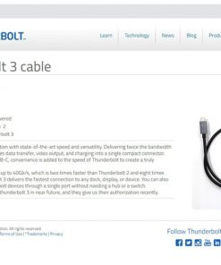 Thunderbolt 3 Cable Certified 40Gbps Type C to C USB Fast USB C
