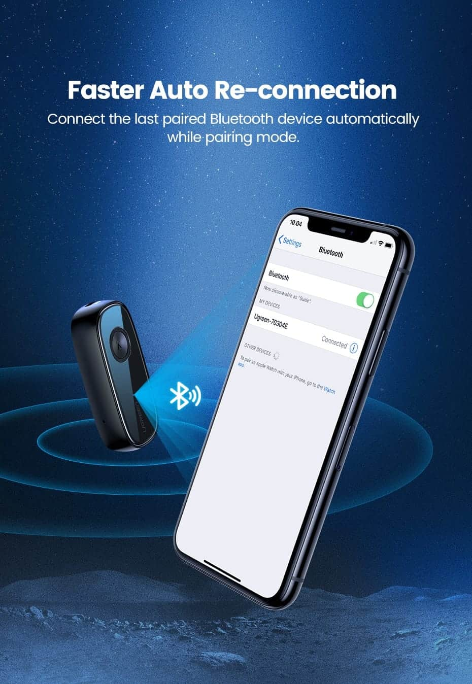 Ugreen Bluetooth Receiver 5.0 Fast Auto Re-connection