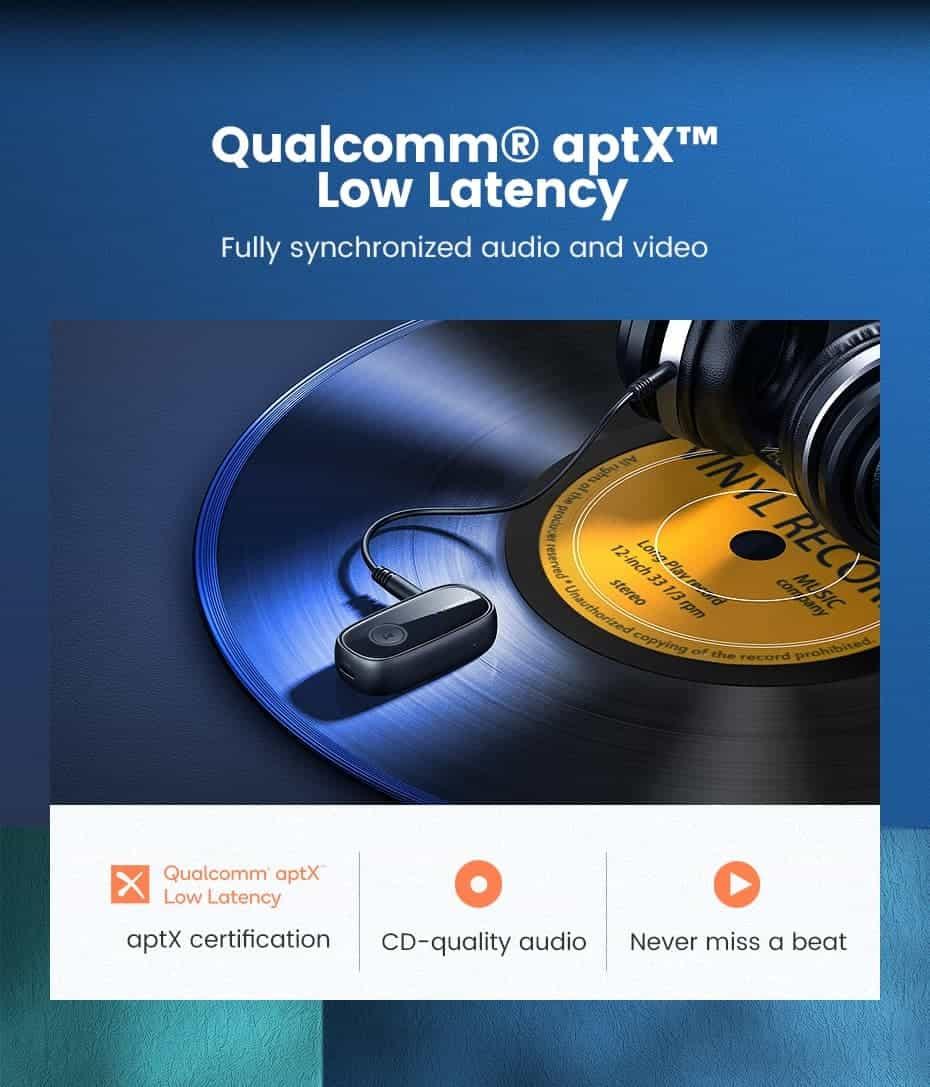 Ugreen Bluetooth Receiver 5.0 Qualcomm aptx low latency