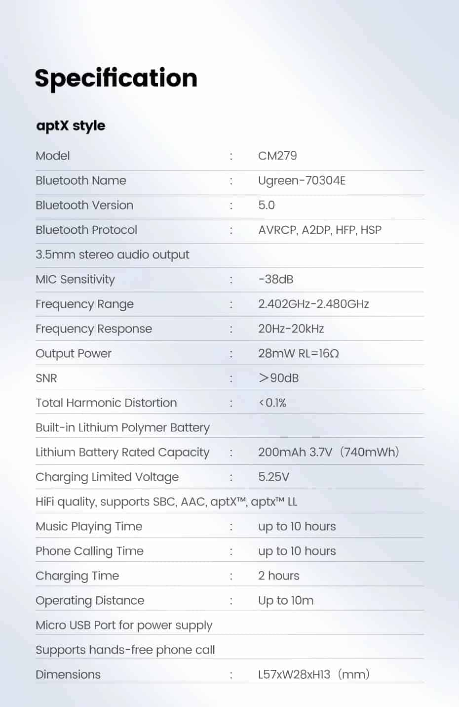 Ugreen Bluetooth Receiver 5.0 Specification