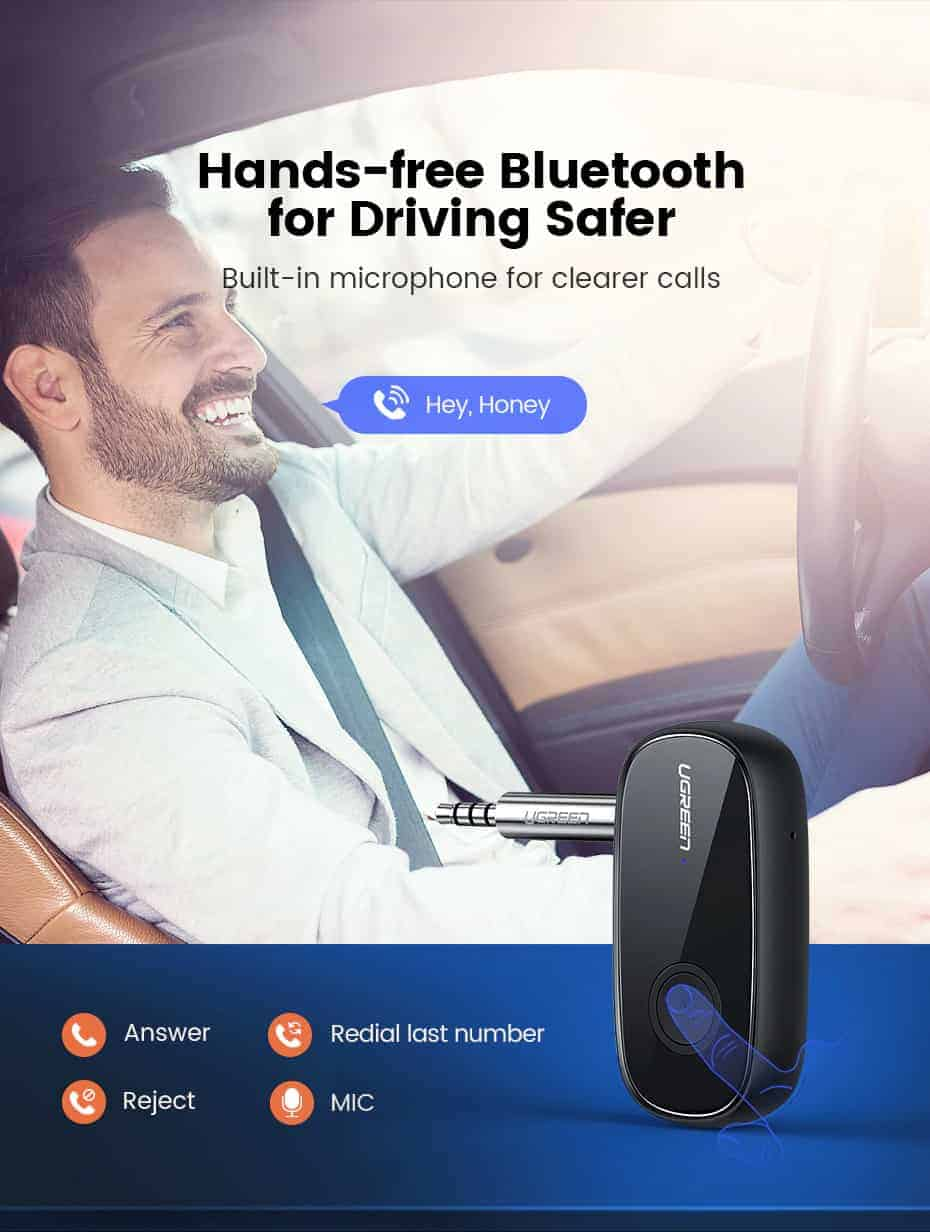 Ugreen Bluetooth Receiver 5.0 aptX LL 3.5mm AUX Hands - free bluetooth for Driving safer