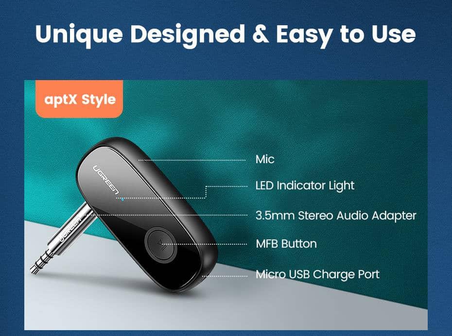 Ugreen Bluetooth Receiver 5.0 unique designed easy to use